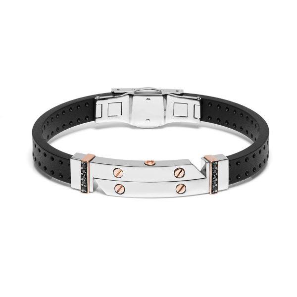 Man bracelet gold rubber stainless and black diamonds Safijen fashion boutique