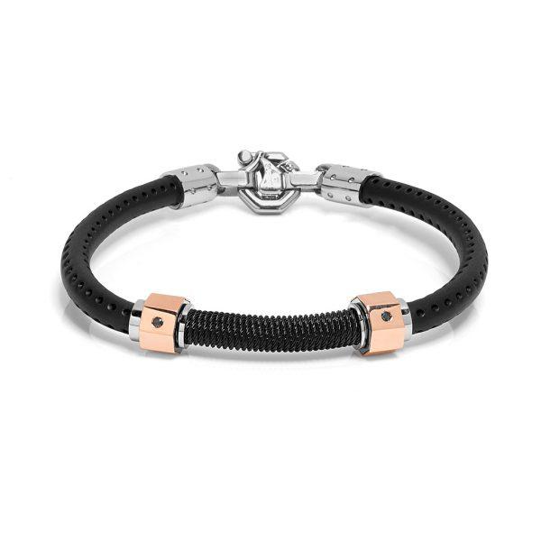 bracelet rubber and black diamonds baraka jewellery Official in Switzerland
