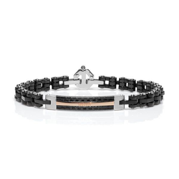 carbon fiber and rose gold bracelet Baraka Jewellery Safijen Fashion