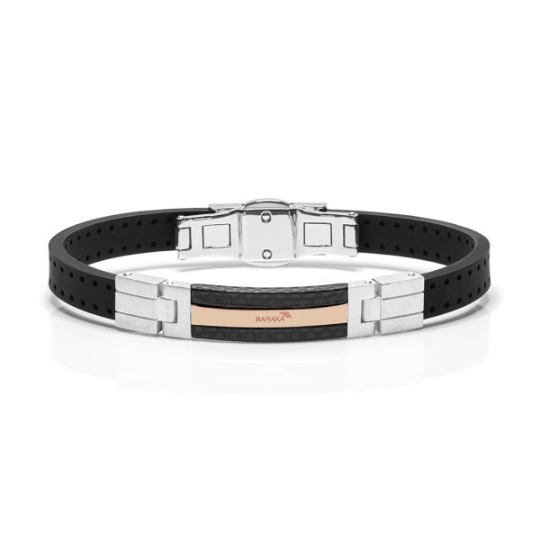 black rubber and rose gold bracelet Baraka Fiber Freetime Official in Switzerland