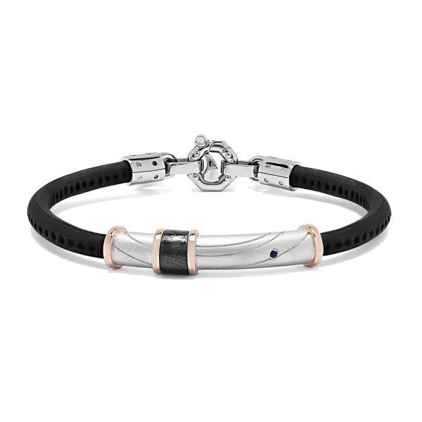 rubber bracelet with Blue sapphire baraka jewellery Safijen boutique