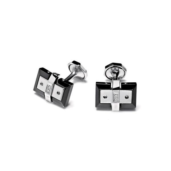 Cufflinks. Stainless steel black diamonds Baraka luxury jewellery Official boutique in Switzerland